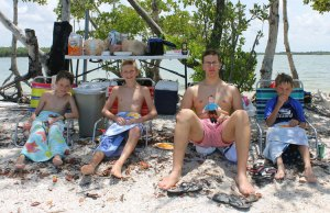 Relaxing under the mangroves with my friends
