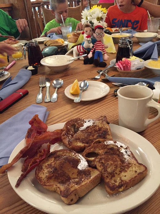Cinnamon French toast with bacon and maple syrup